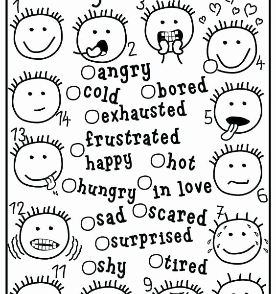 Feelings Worksheets for Preschoolers Anger Preschool Worksheet Emotions Free Lessons Line