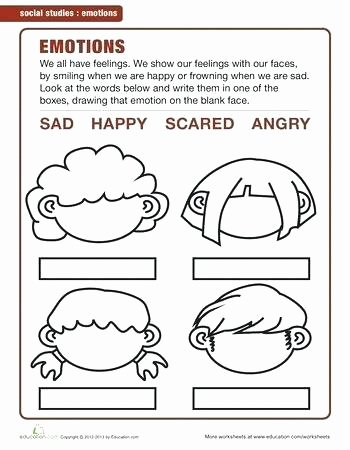 Feelings Worksheets for Preschoolers Emotions Worksheets