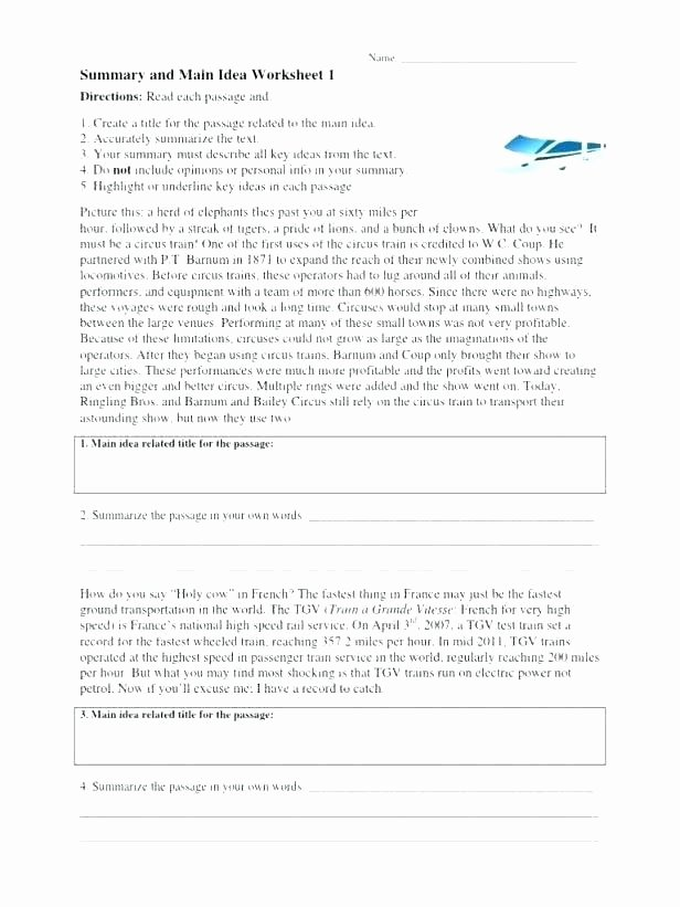 Fiction and Nonfiction Worksheets Pdf Summarizing Worksheets