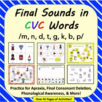 Final Consonant Deletion Worksheet Final sound Cvc Worksheets & Teaching Resources