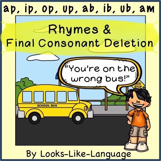 Final Consonant Deletion Worksheet Picture Cards for Language Speech