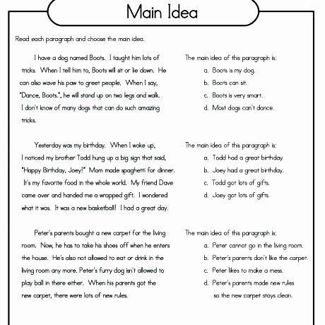 Finding the Main Idea Worksheet Main Idea Worksheets Grade 5 Main Idea and Supporting