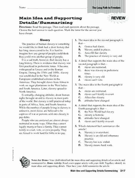 Finding the Main Idea Worksheet Summarizing Worksheets 3rd Grade