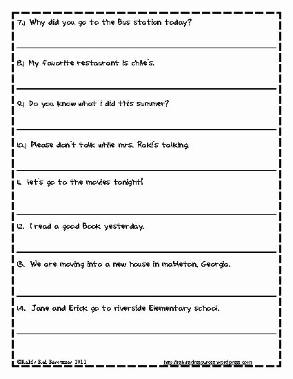 First Grade Capitalization Worksheets Awesome Grammar Capitalization Worksheets