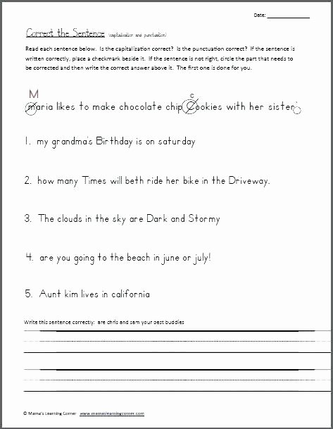 First Grade Capitalization Worksheets Best Of Grade Capitalization Tuation Worksheets and for Graders