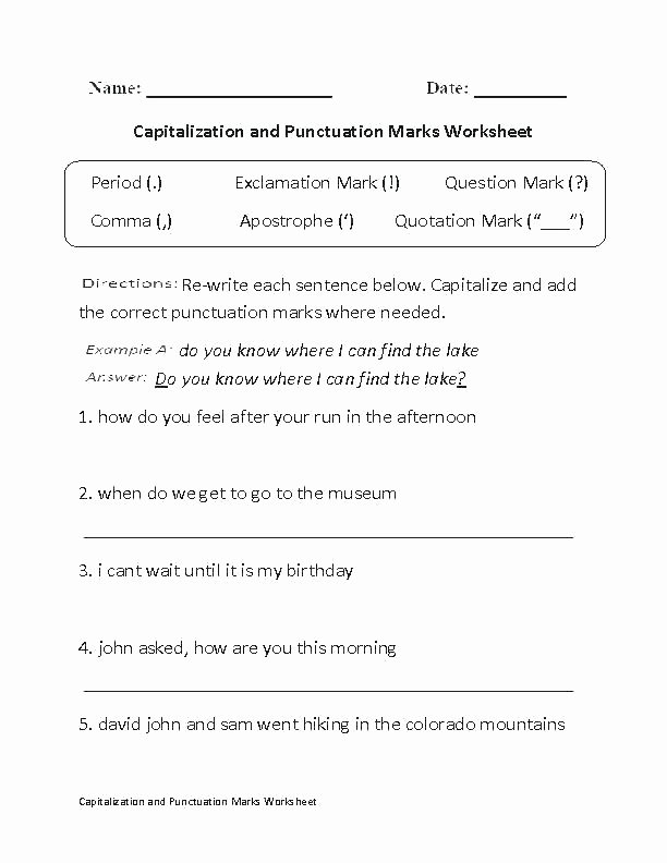 First Grade Capitalization Worksheets Fresh Capitalization Practice Worksheets Middle School Resources