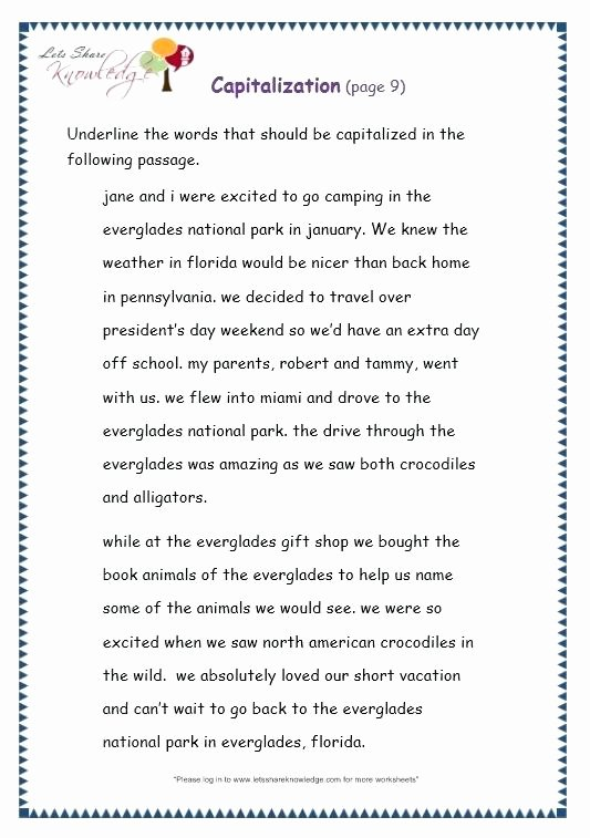 First Grade Capitalization Worksheets Inspirational Grammar Capitalization Worksheets