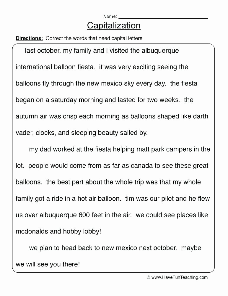 First Grade Capitalization Worksheets Luxury Capitalization Worksheets Free Punctuation Dashes