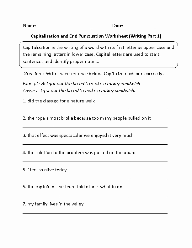 First Grade Capitalization Worksheets Unique Punctuation Worksheets for 1st and 2nd Grade