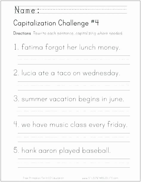First Grade Capitalization Worksheets Unique Summer Worksheets for 1st Grade