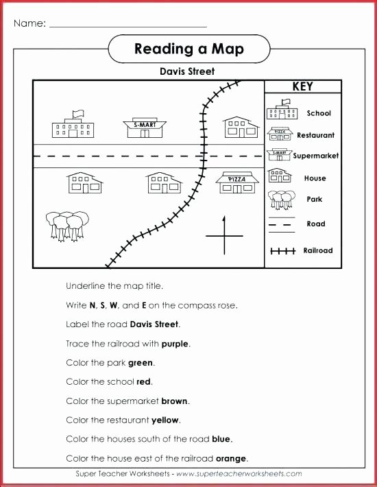First Grade Map Skills Worksheets Inspirational Drawing Map Skills Worksheets for Third Grade Map Skills