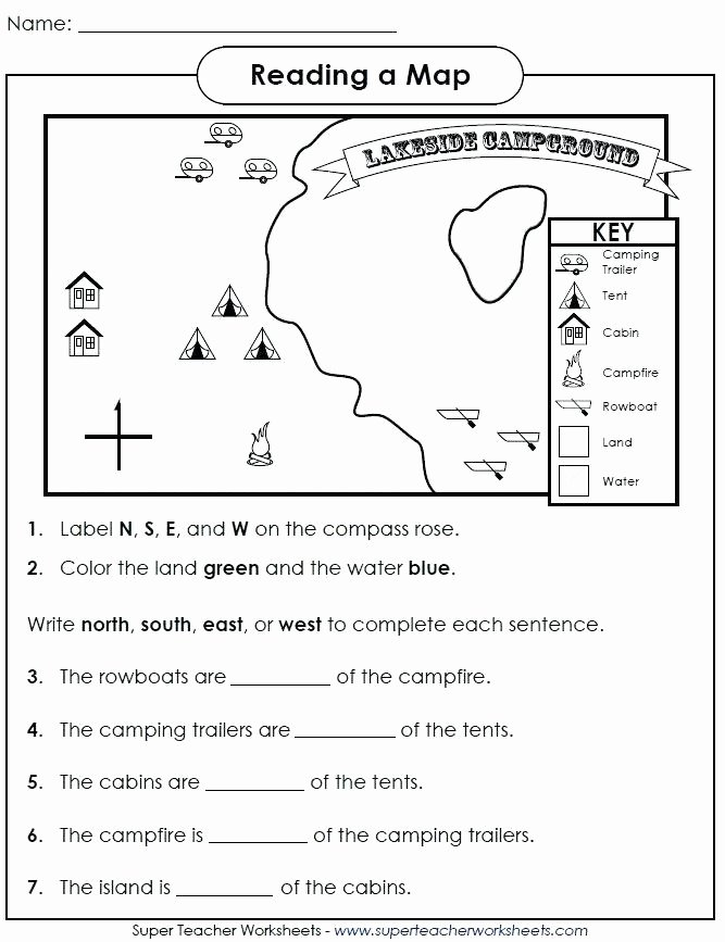 First Grade Map Skills Worksheets Unique Map Worksheets for First Grade