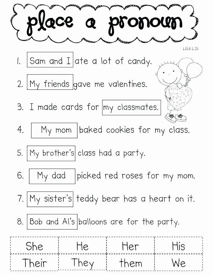 First Grade Pronoun Worksheets Pronoun Worksheets 6th Grade Free