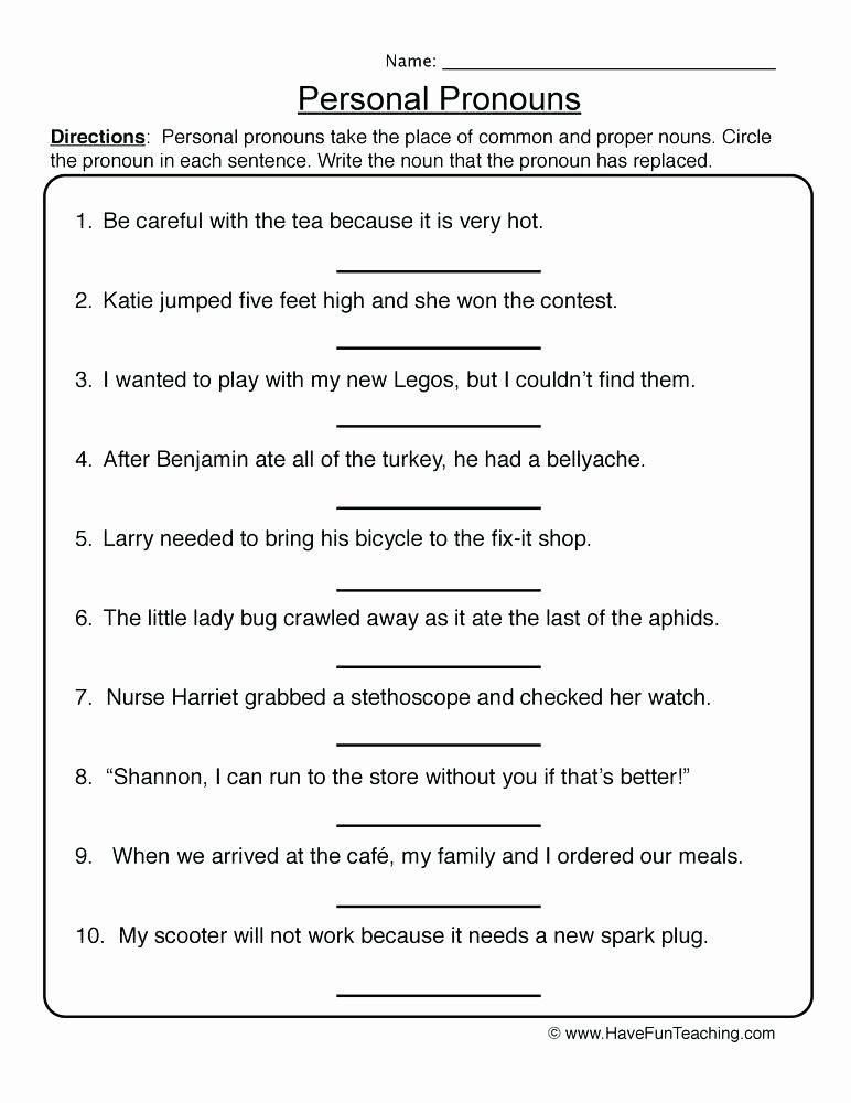 First Grade Pronoun Worksheets Pronoun Worksheets First Grade – Odmartlifestyle