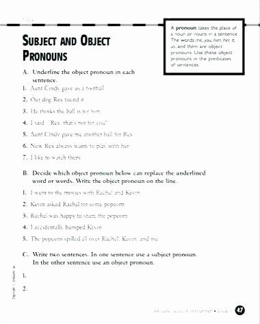 First Grade Pronoun Worksheets Subject Pronoun Worksheets for Grade 2 Has Have Noun Verb