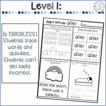 First Grade Vocabulary Worksheets First Grade Dolch Word Worksheets Differentiated In Three Levels