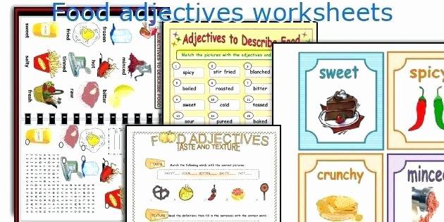 food adjectives worksheets esl healthy