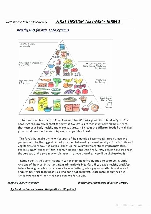 Five Food Groups Worksheets Free Health Worksheets for 4th Grade