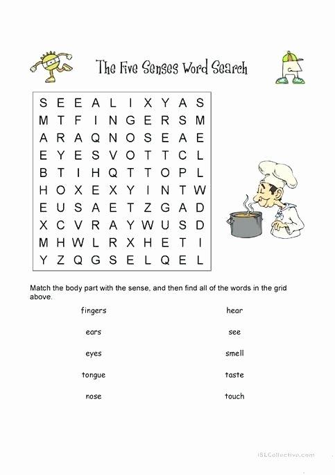 Five Senses Worksheets Kindergarten Free Word Search Printable Worksheets Grade 2 Second Sight
