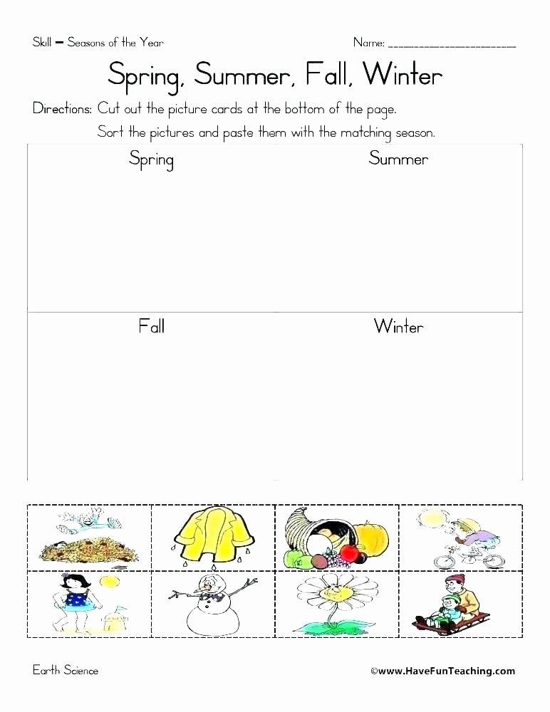 Five Senses Worksheets Preschool Elegant Free Seasons Worksheet for Kindergarten Science Worksheets