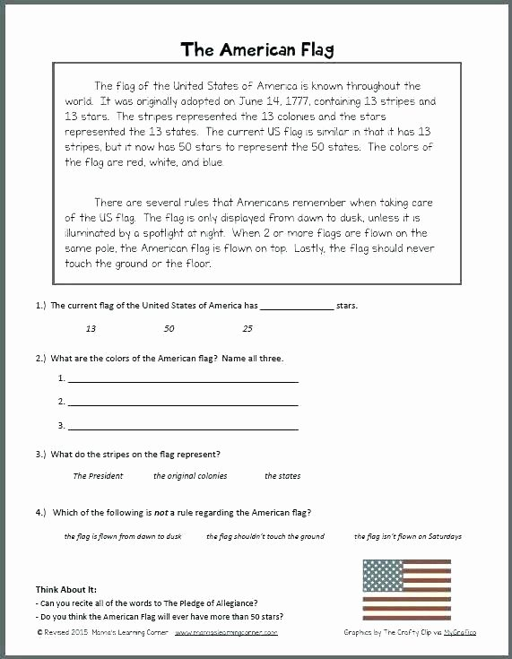 Flag Day Reading Comprehension Worksheets American Flag Worksheets – Primalvape