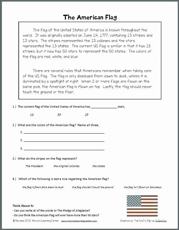 Flag Day Reading Comprehension Worksheets American Flag Worksheets – Primalvape