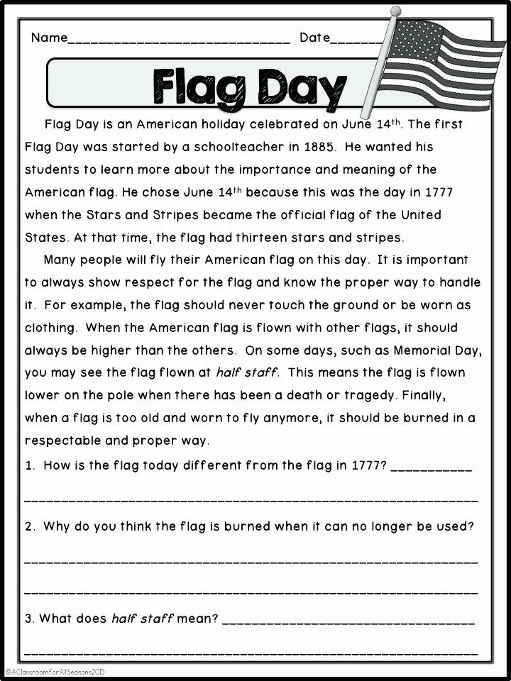 Flag Day Reading Comprehension Worksheets Flag Worksheets – Franceitaly