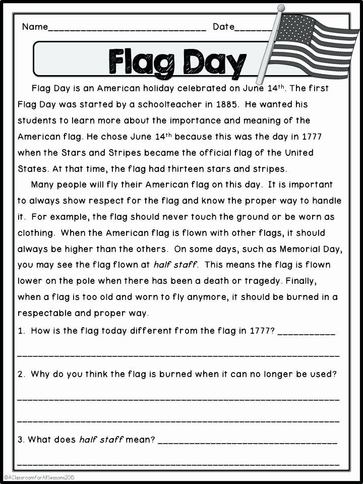 Flag Day Reading Comprehension Worksheets Flag Worksheets – Franceitaly