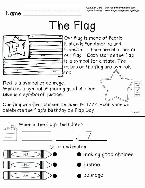Flag Day Reading Comprehension Worksheets Kindergarten Worksheets American Flag Worksheets for
