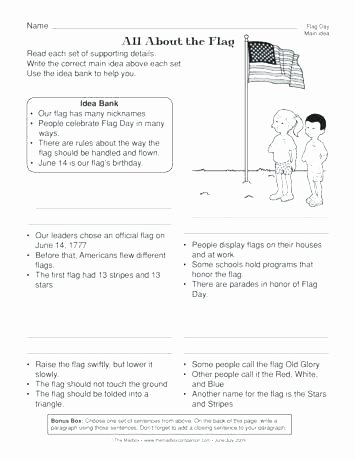 Flag Day Reading Comprehension Worksheets Main Idea Worksheets 8th Grade – Deglossed