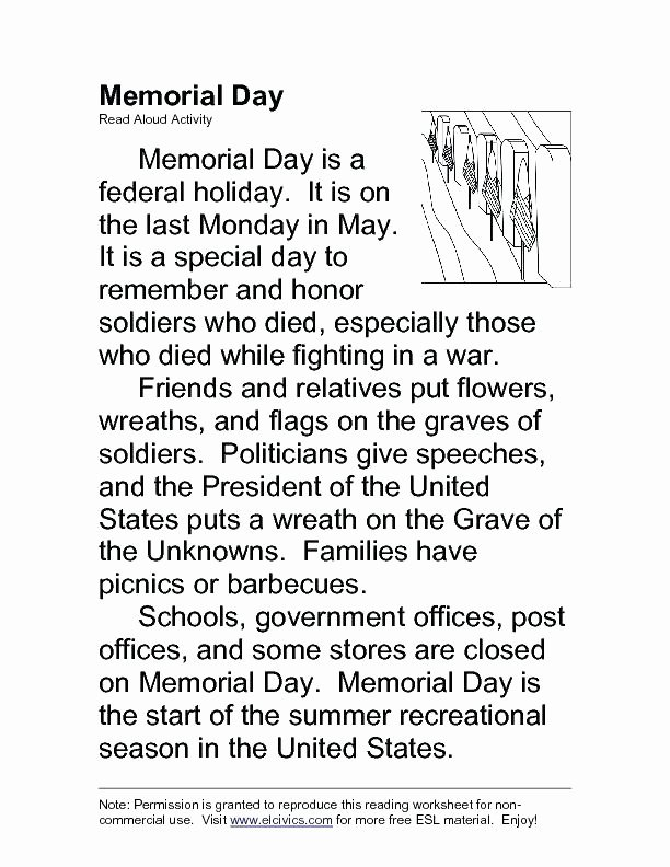 Flag Day Reading Comprehension Worksheets Product Categories Memorial Day Worksheets Holiday Memorial