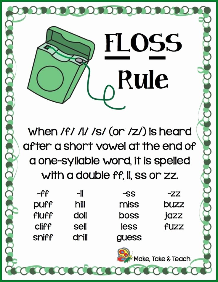 Floss Rule Worksheet Phonics Rules for First Grade