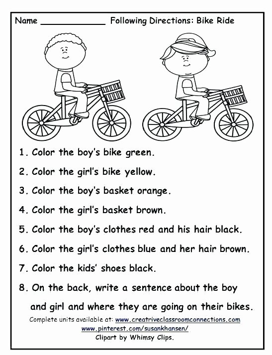 Follow Directions Worksheet Kindergarten Beautiful Following Directions Worksheets for Elementary Students