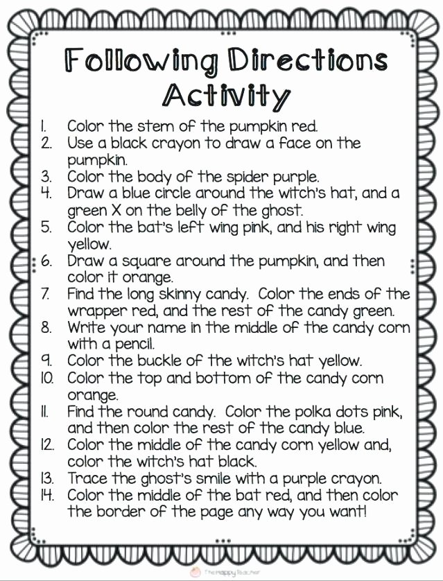 Follow Directions Worksheet Kindergarten Fresh Following Directions Trick Worksheets – Petpage