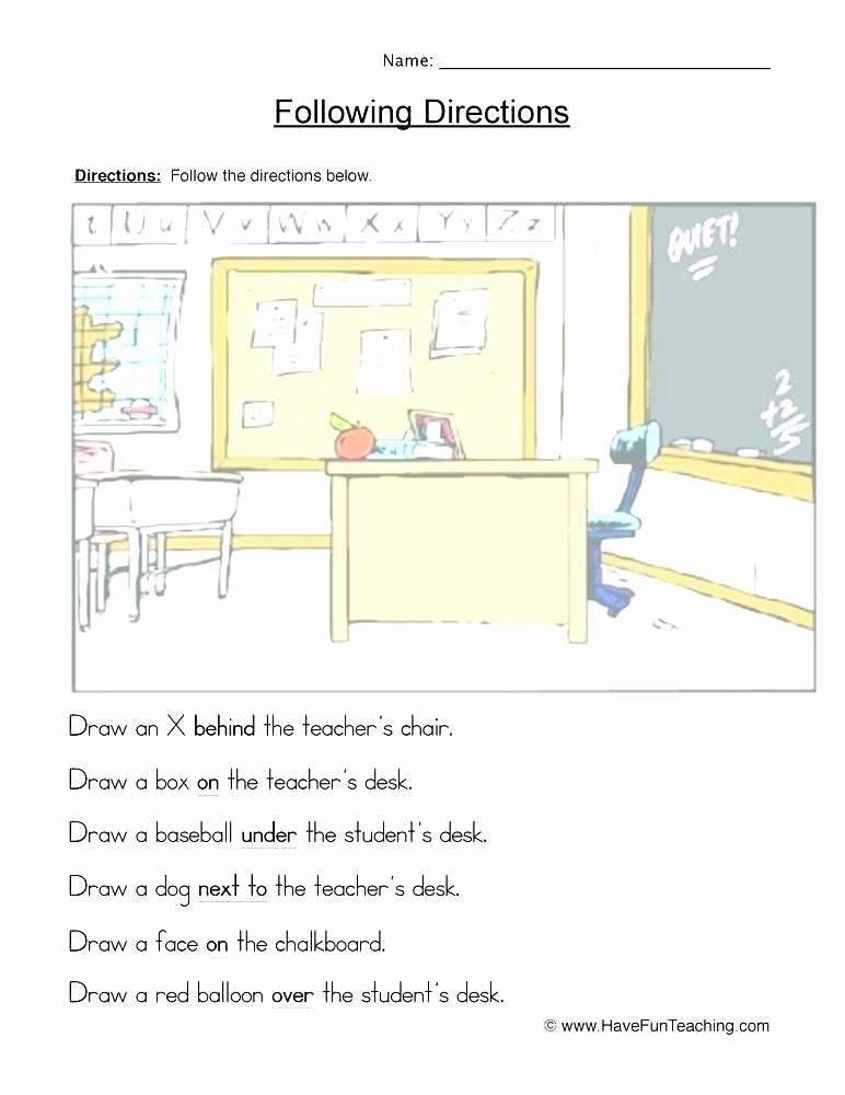 Follow Directions Worksheet Kindergarten Fresh Multi Step Directions Worksheets for Education Free