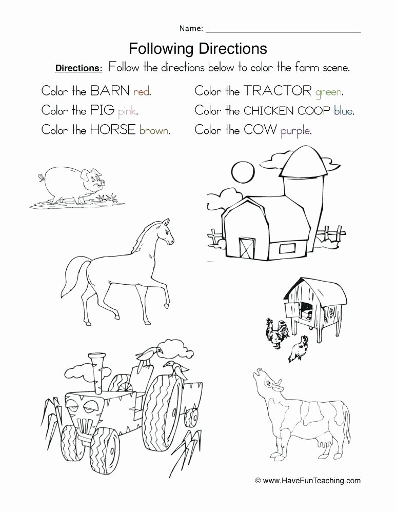 Follow Directions Worksheet Kindergarten Inspirational Kindergarten Following Direction Worksheets Download them