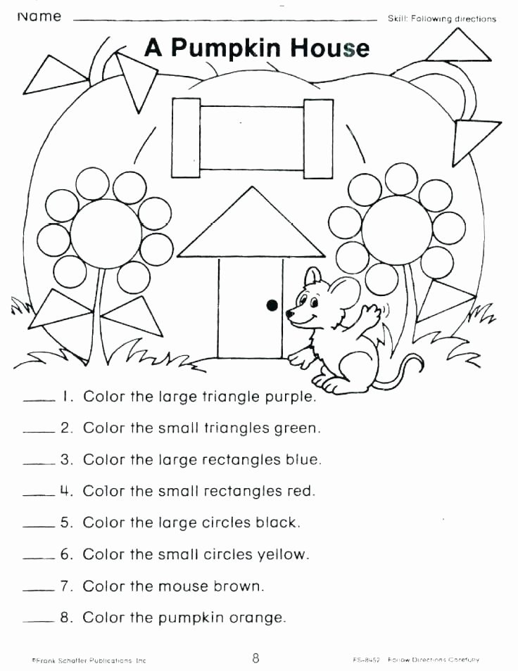 Follow Directions Worksheet Kindergarten New Following Directions Worksheets for Grade 2 Brilliant Ideas