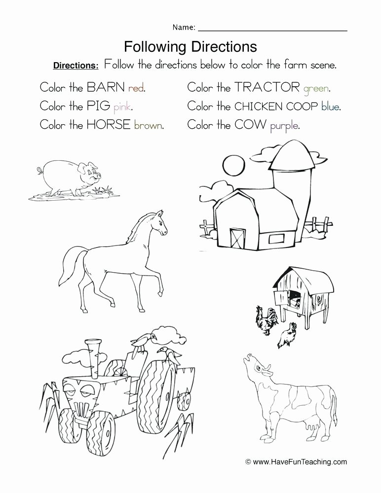 Following Directions Coloring Worksheet Direction Worksheets for Kindergarten