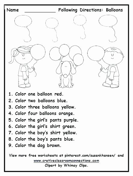 Following Directions Coloring Worksheet Following Directions Worksheets for Grade 2 Brilliant Ideas