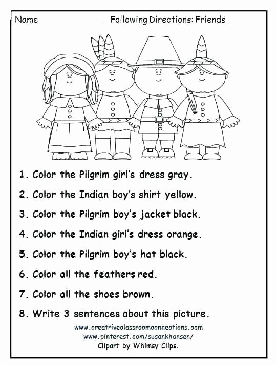 Following Directions Coloring Worksheet Following Directions Worksheets for Grade 2