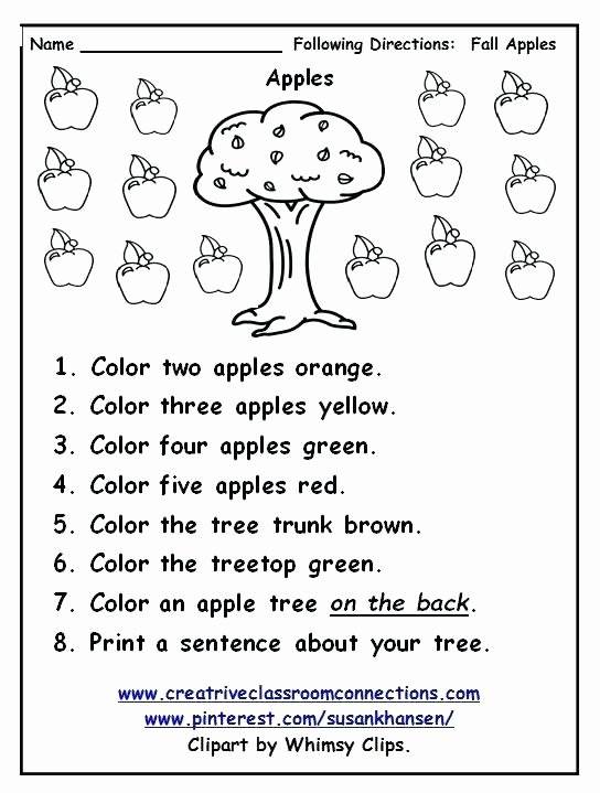 Following Directions Coloring Worksheet Free Following Directions Worksheet Provides Practice with