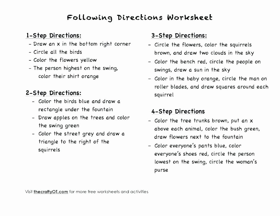 Following Directions Coloring Worksheet Worksheets Following Directions for Graders Grade 3