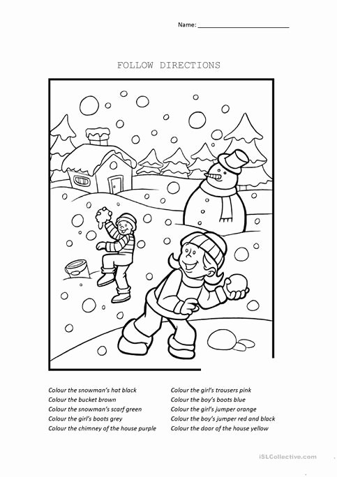 Following Directions Printables Christmas Following Directions Worksheet 0425
