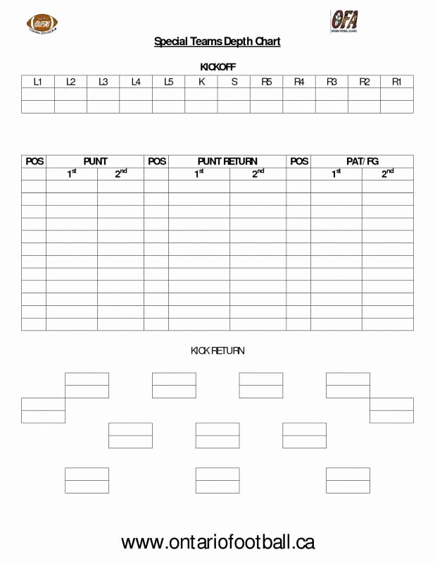 Football Depth Charts Templates Awesome Football Depth Chart Template Template