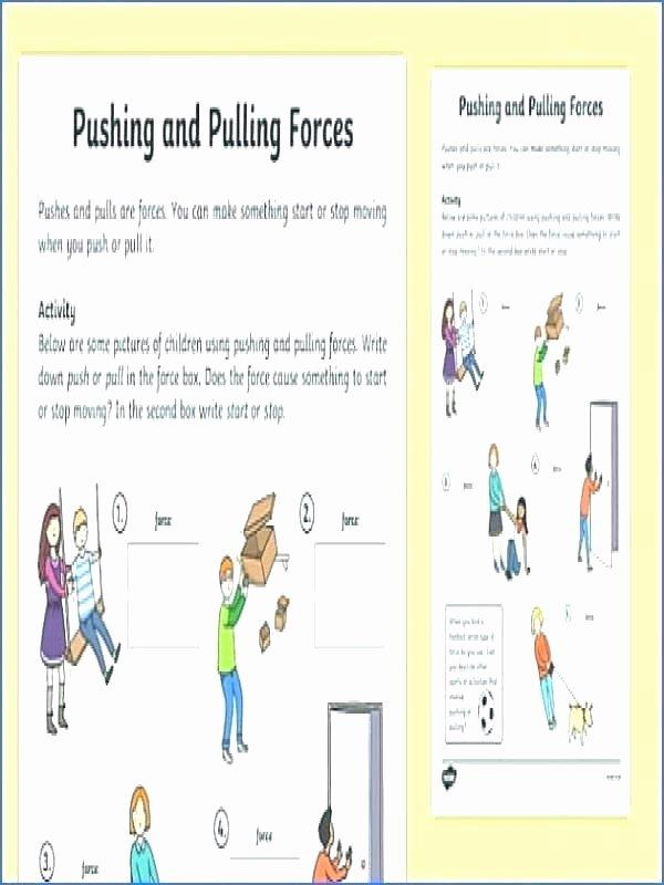 Force and Motion Kindergarten Worksheets Kindergarten force and Motion Worksheets Push Kindergarten