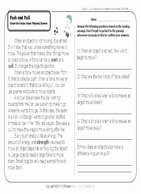 Force and Motion Kindergarten Worksheets Motion Worksheets for Kindergarten Science force and Motion