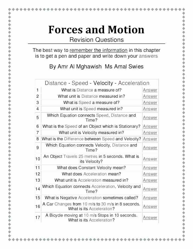 Force and Motion Kindergarten Worksheets Push and Pull Worksheets 4th Grade force Motion for All