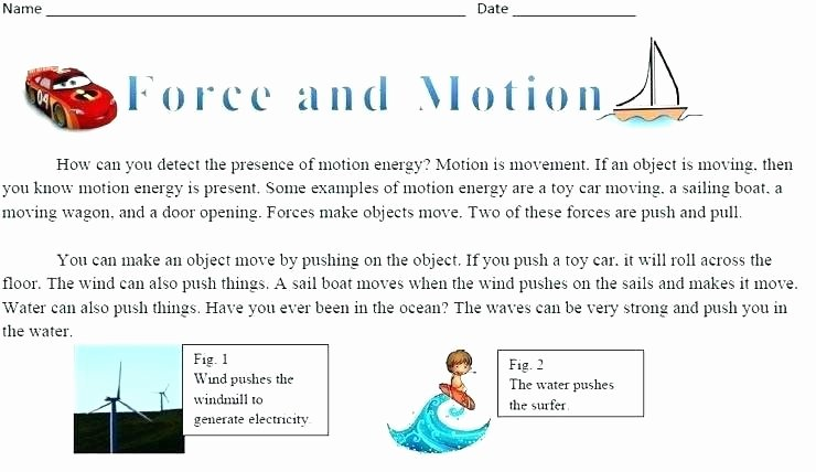 Force and Motion Printable Worksheets Physical Science force and Motion Worksheets