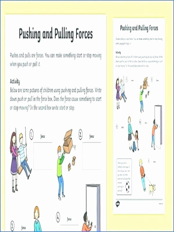 Force and Motion Printable Worksheets Push and Pull forces Worksheets