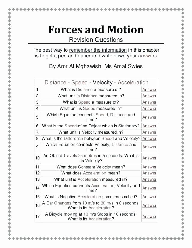 Force and Motion Worksheet Answers Lovely force Worksheets for Grade What are Magnets Worksheet